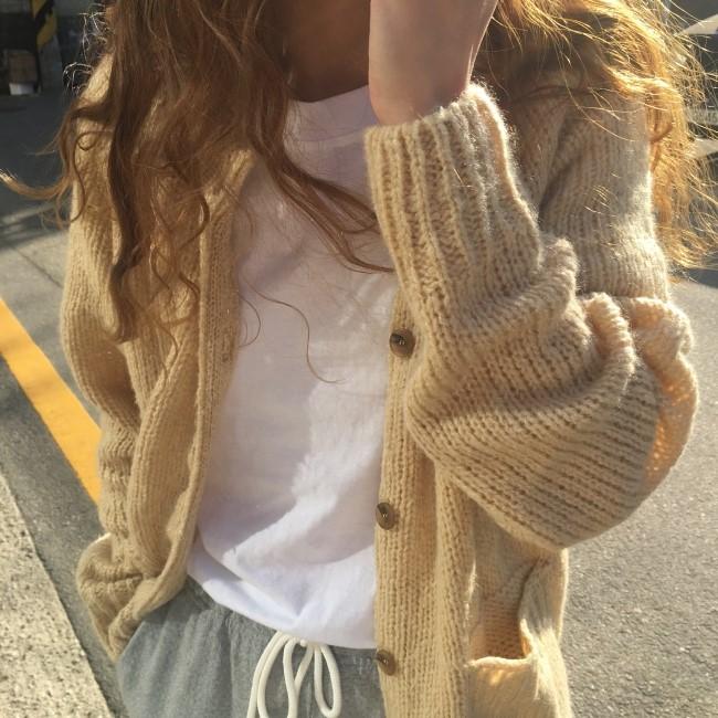 秋新 色系復古 簡約暖洋洋針織長袖開衫