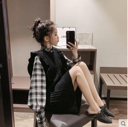 馬甲毛衣裙襯衫兩件套套裝女2019新款春秋季冬慵懶風