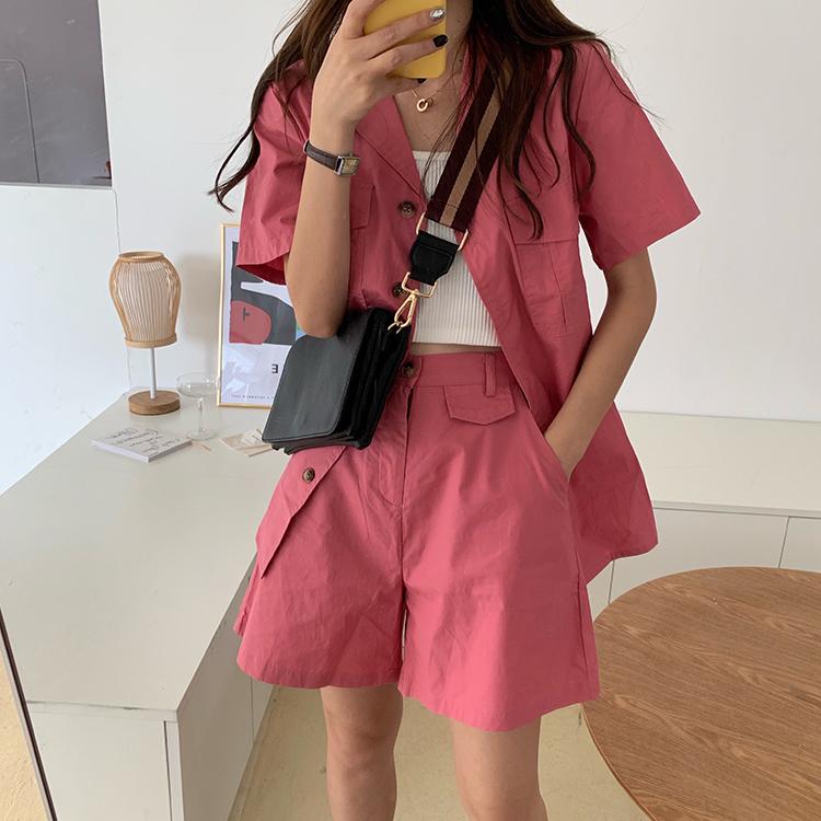 實拍實價韓國少女工裝風粉色寬松襯衫+高腰西裝短褲女套裝