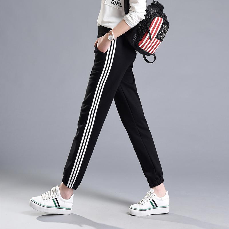 实拍~秋装 新款三杠经典收脚显瘦学生裤女休闲运动裤