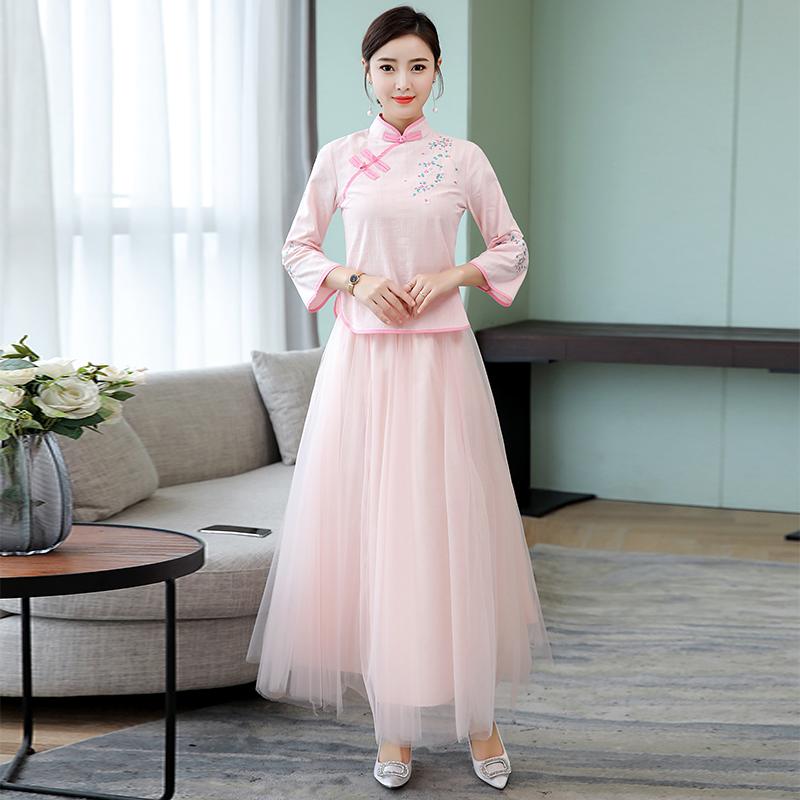 실제 총 2019면 자수 짧은 치파오 거즈 두 조각 중국 바람 드레스 세트 중국 신부 들러리 드레스