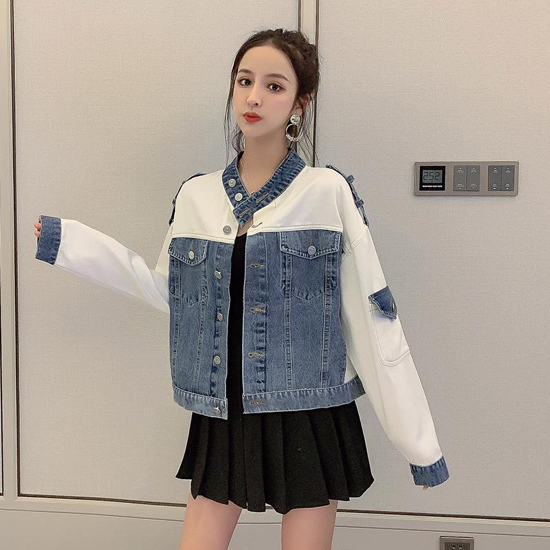 實拍現貨牛仔衣女2019新款寬松秋季韓版短款拼接立領機車夾克外套