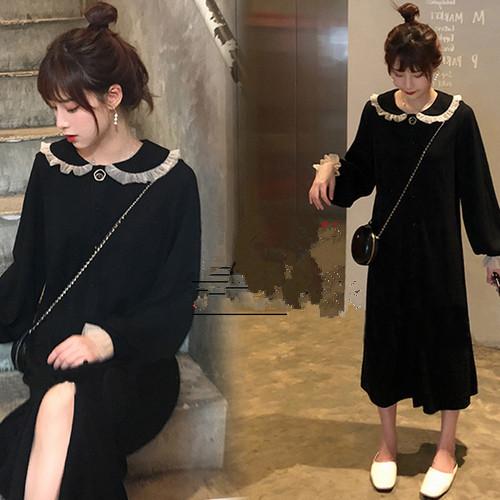 新款大碼微胖mm仙女長袖小黑裙洋氣中長款連衣裙