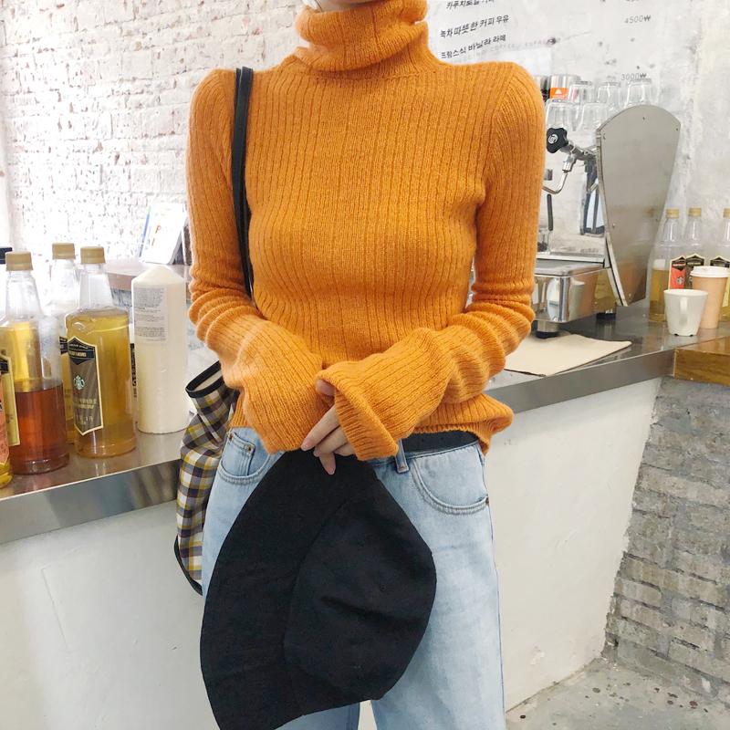 实拍实价~炒鸡显瘦的马海毛毛衣女薄款套头高领针织衫修身打底衫