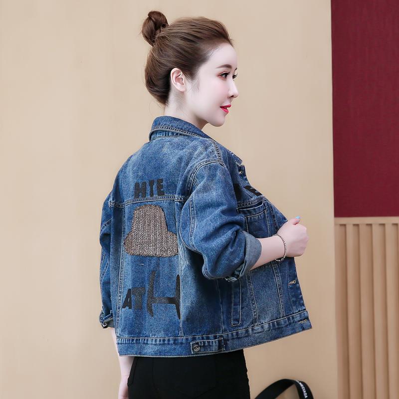 實拍 短款牛仔小外套女裝2019春秋季流行網紅寬松學生薄款夾克