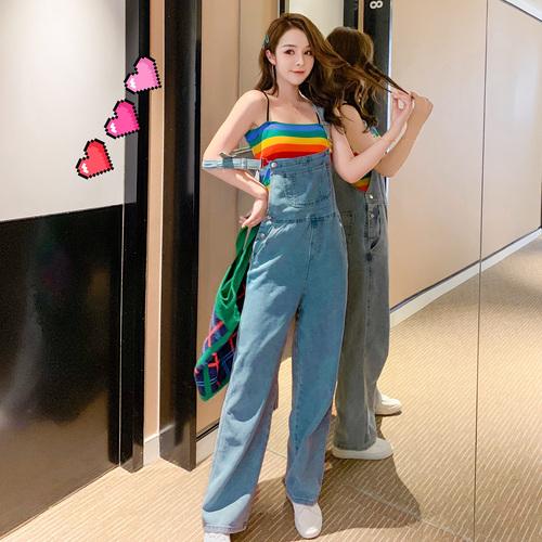 实拍张贝贝ibell2019新款女装韩版修身短款彩色背心吊带女打底衫