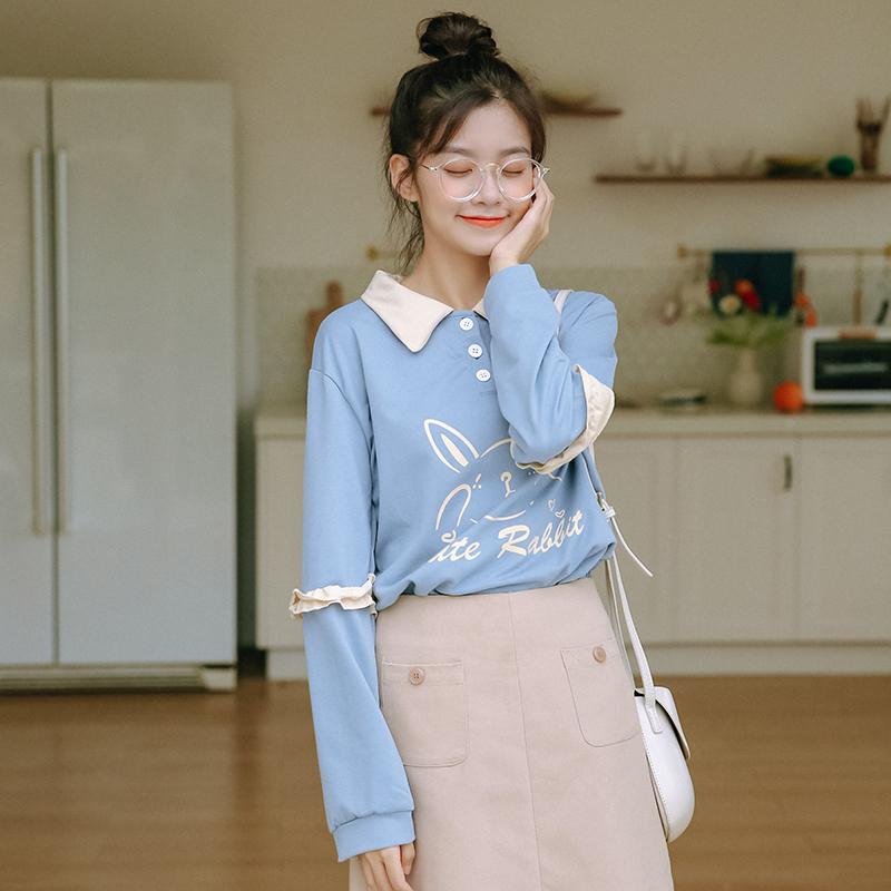 模特实拍 2019新款秋冬百搭卡通印花长袖学生T恤Polo领上衣女