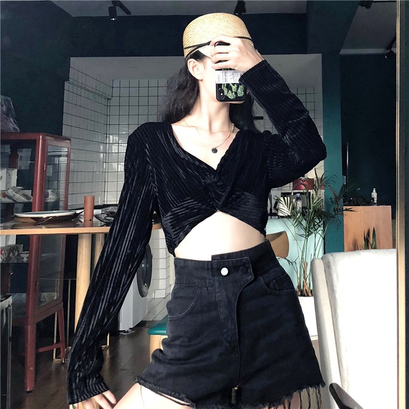 實拍實價 控價5 金絲絨性感顯瘦秋季新款黑色V領長袖上衣