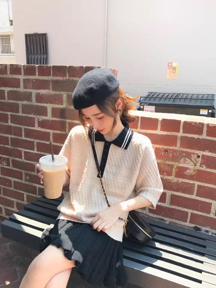 錢夫人CHINSTUDIO原宿針織polo衫女可愛短袖學生韓版chic早秋上衣