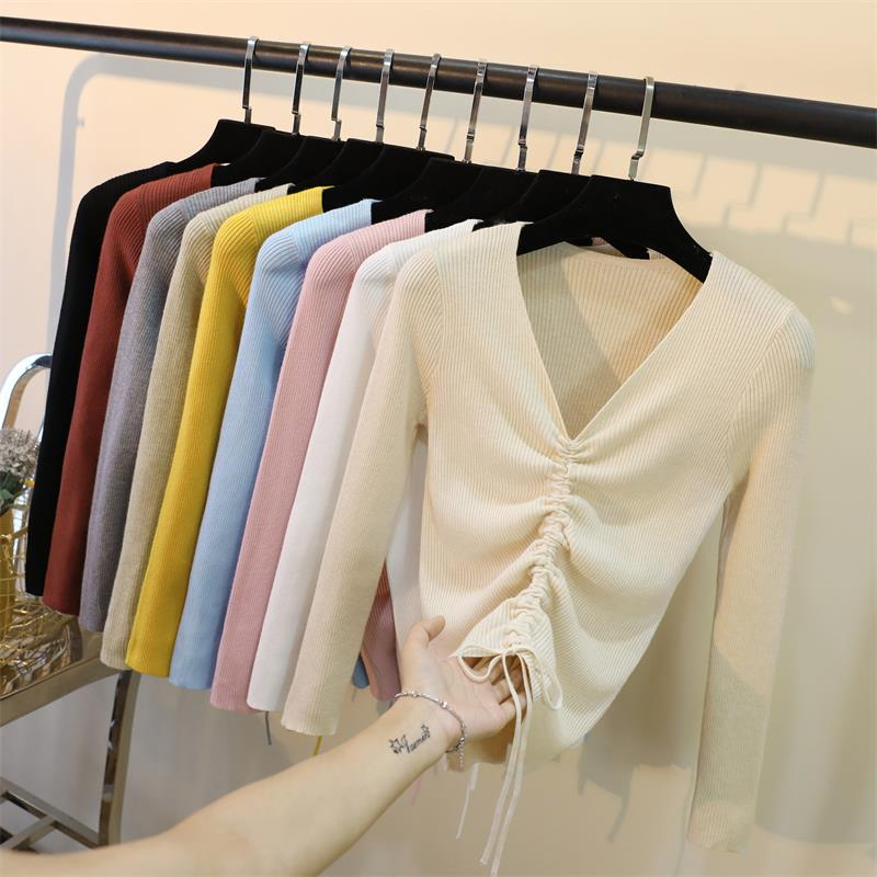 包芯紗長袖上衣V領抽繩打底針織衫韓版修身套頭短款毛衣女
