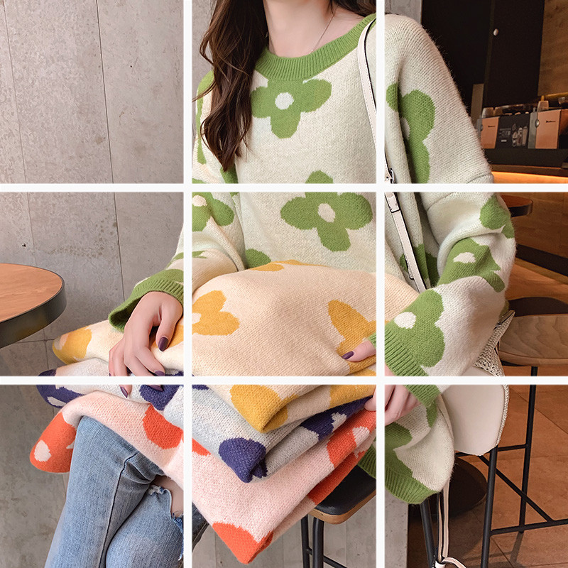 2019新款很仙的网红毛衣女秋学院风宽松外穿亚博开户慵懒风针织衫