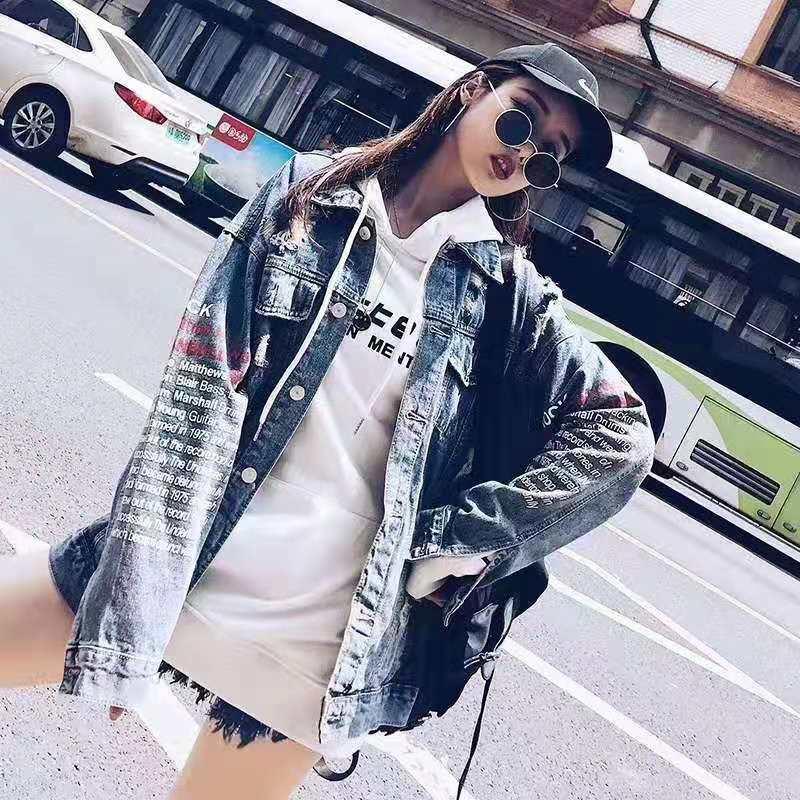 网红早秋韩版学生bf港风嘻哈ins怪味少女显瘦宽松大码牛仔外套潮