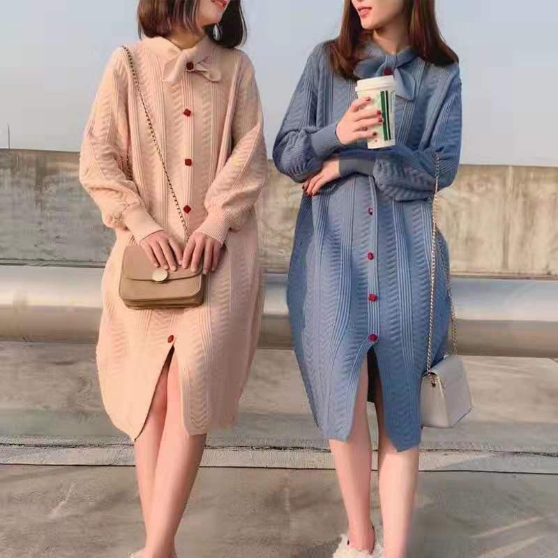 2019秋裝韓版新款大碼女裝胖mm針織中長款寬松減齡連衣裙
