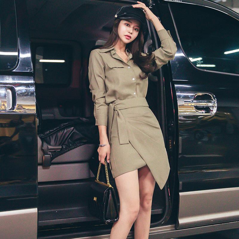 2019韓版復古優雅小心機POLO領襯衫上衣+設計感A字裙短裙兩件套女