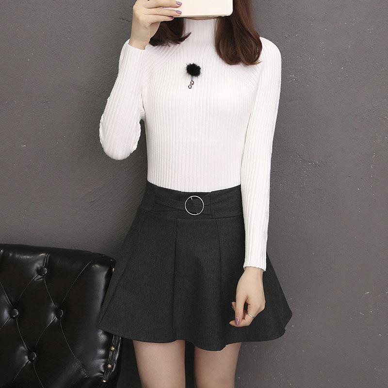 亚博娱乐平台入口2019秋季新款半高领毛衣打底衫女修身百搭纯色长袖套头针织衫