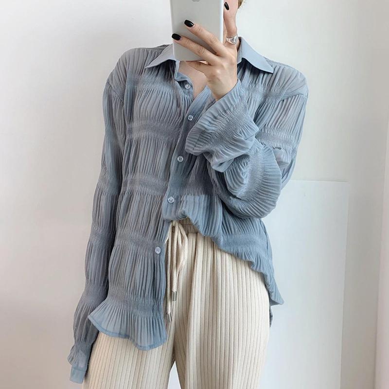韩国chic小众百搭翻领单排扣宽松设计感褶皱纹理薄款防嗮长袖衬衫