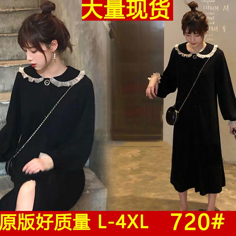 2019新款大码微胖mm仙女长袖小黑裙洋气中长款连衣裙