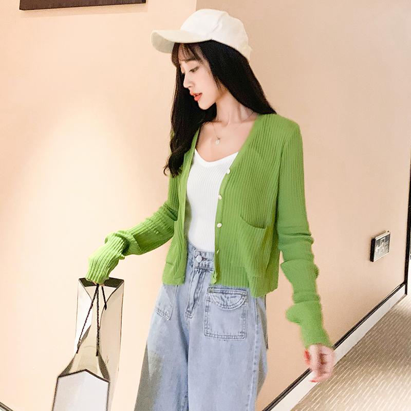 牛油果绿纯色开衫薄毛衣外套秋季小香风韩范ins单排扣针织衫开衫