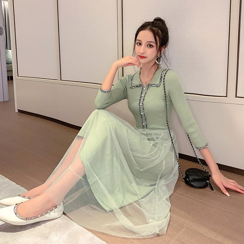 现货亚博娱乐平台入口中长款连衣裙2019年新款女装修身显瘦网纱初秋针织长裙子