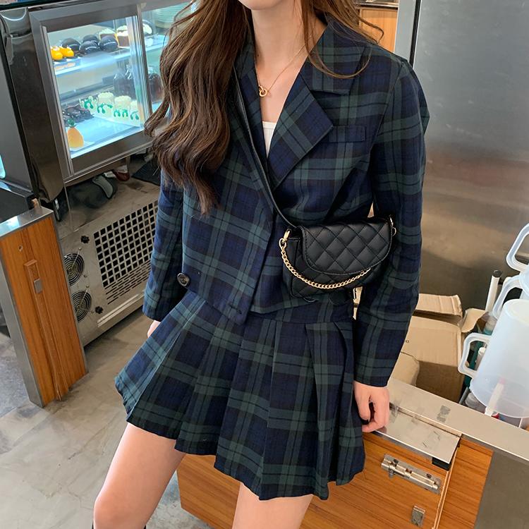 实拍实价韩国少女英伦风绿格子短款小西装+高腰百褶短裙两件套