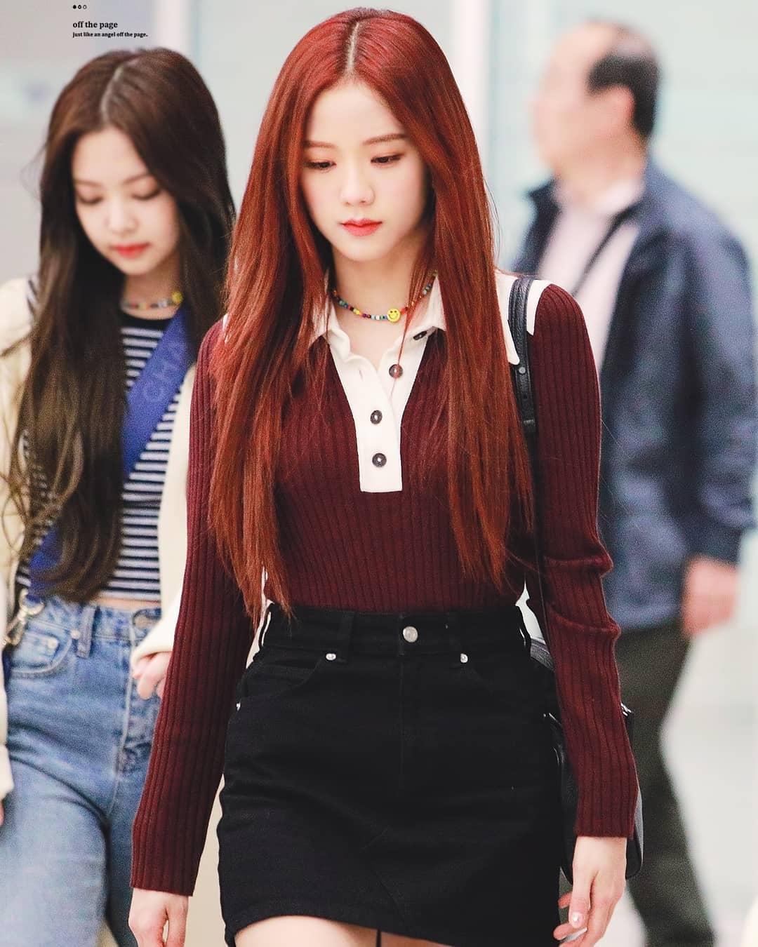 韓國chic撞色polo領紐扣修身毛衣套頭長袖打底針織衫百搭牛仔短裙