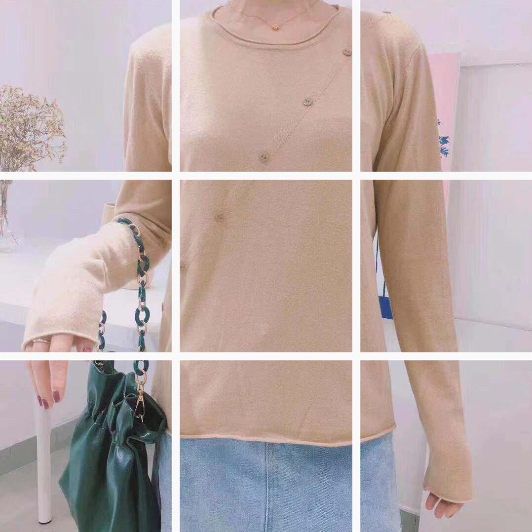 2019新款網紅初秋女裝顯瘦上衣性感氣質女長袖針織打底衫