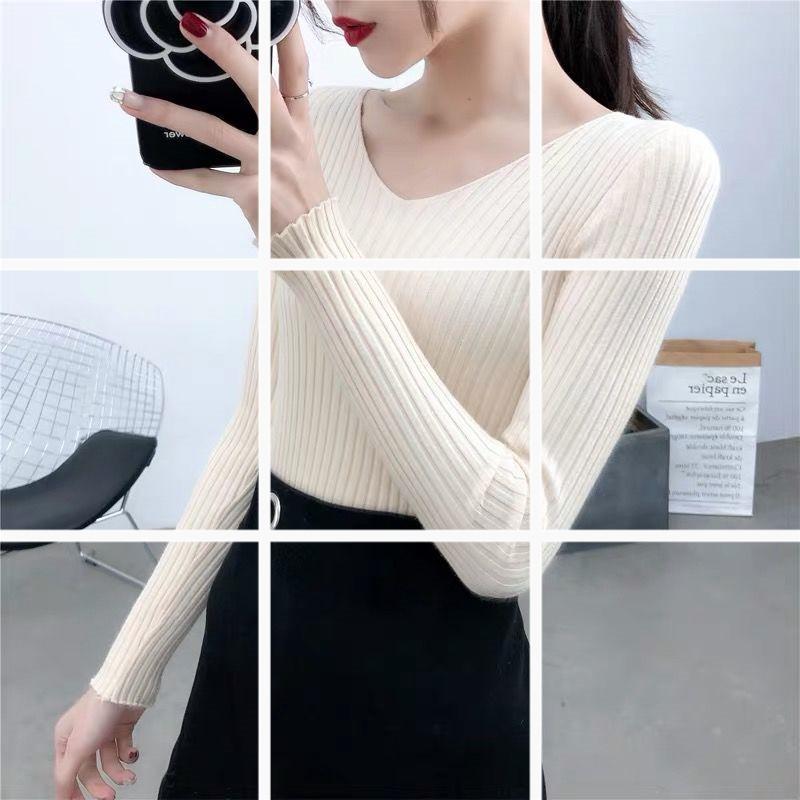 2019秋冬新款V領針織衫打底衫長袖修身t恤內搭毛衣女