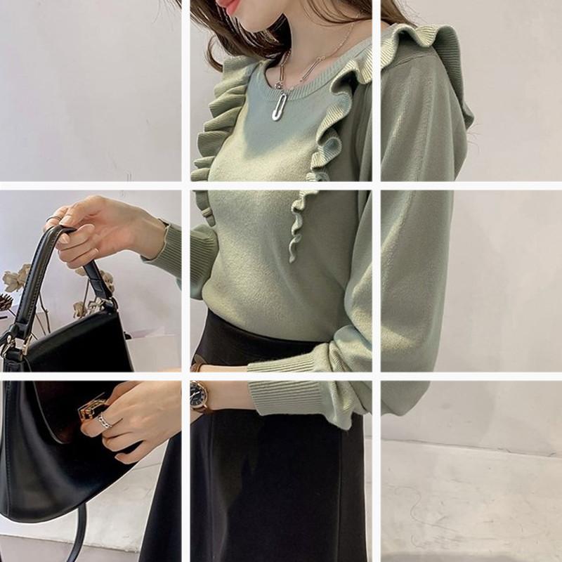 新款甜美木耳边针织衫女套头长袖上衣chic纯色打底毛衣潮