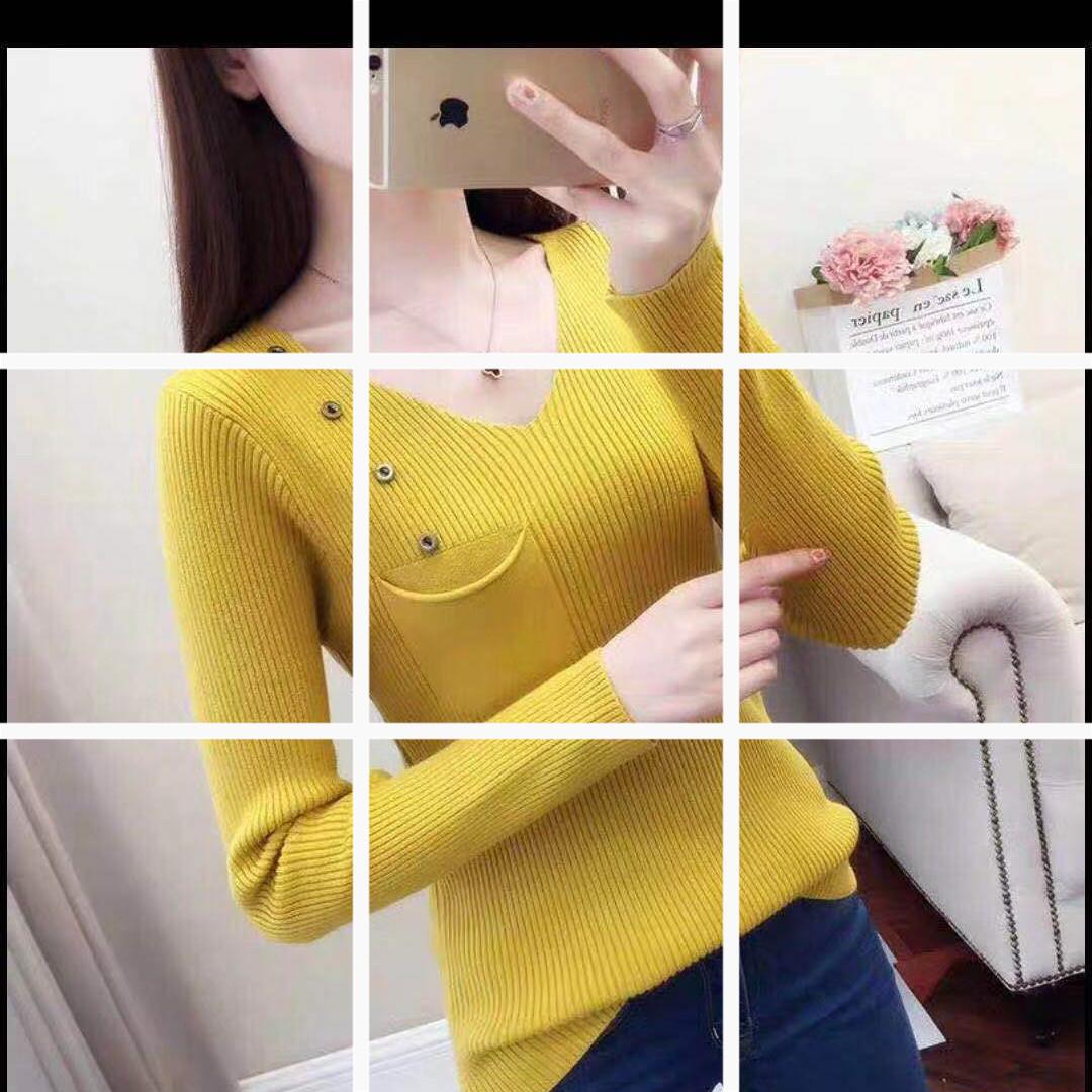 V領修身打底衫女裝純色一排扣口袋毛衣韓版緊身新款毛衣