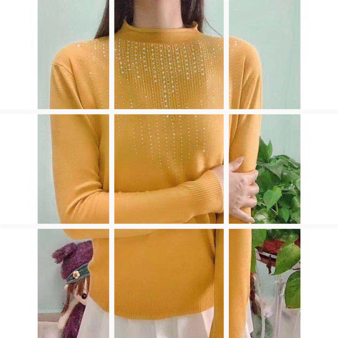 時尚半高領純色打底衫女2019秋季新款韓版氣質顯瘦上衣潮