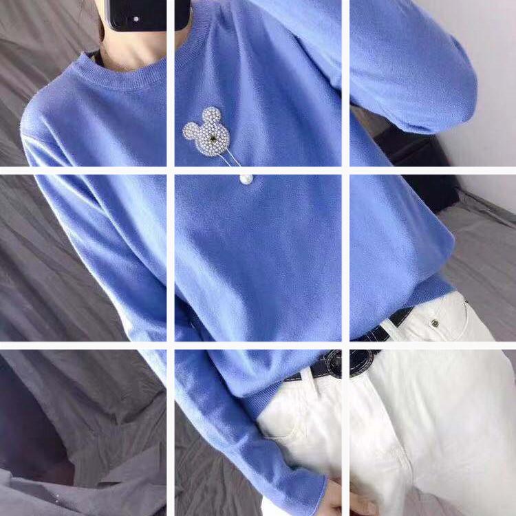 2019新款女裝韓版百搭網紅圓領長袖t恤上衣潮