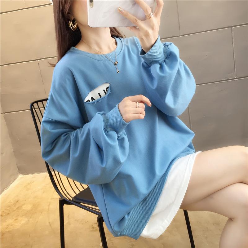 实拍自设工厂货源稳定好质量不下架棉质宽松长袖卫衣女网红同款