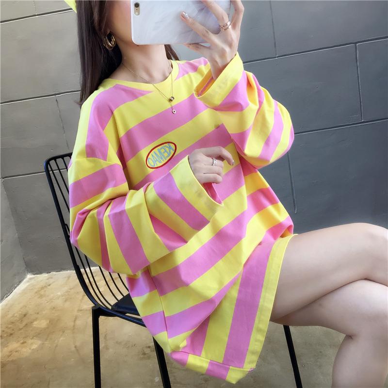 实拍自设工厂货源稳定百分百纯棉不下架宽松长袖T恤女网红同款