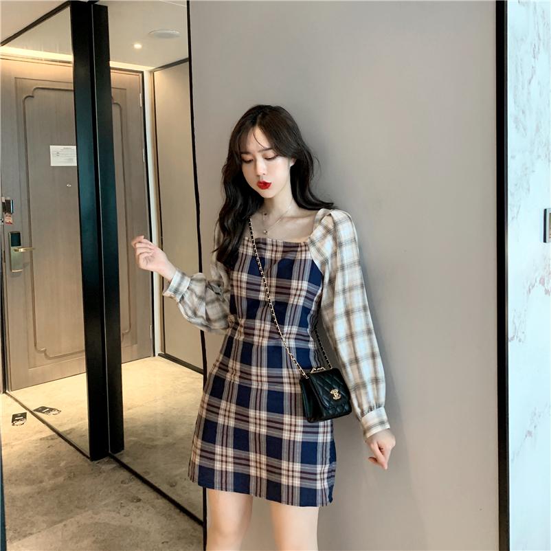 實拍實價 韓版復古百搭格子拼色直筒長袖連衣裙 收腰顯瘦方領裙子