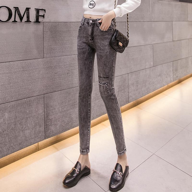 牛仔褲女九分褲2019秋季彈力煙灰色鉛筆褲修身顯瘦小腳褲直筒長褲