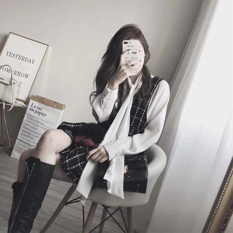 胖妹妹洋气显瘦套装裙2019新款秋季大码女装长袖衬衫+马甲两件套