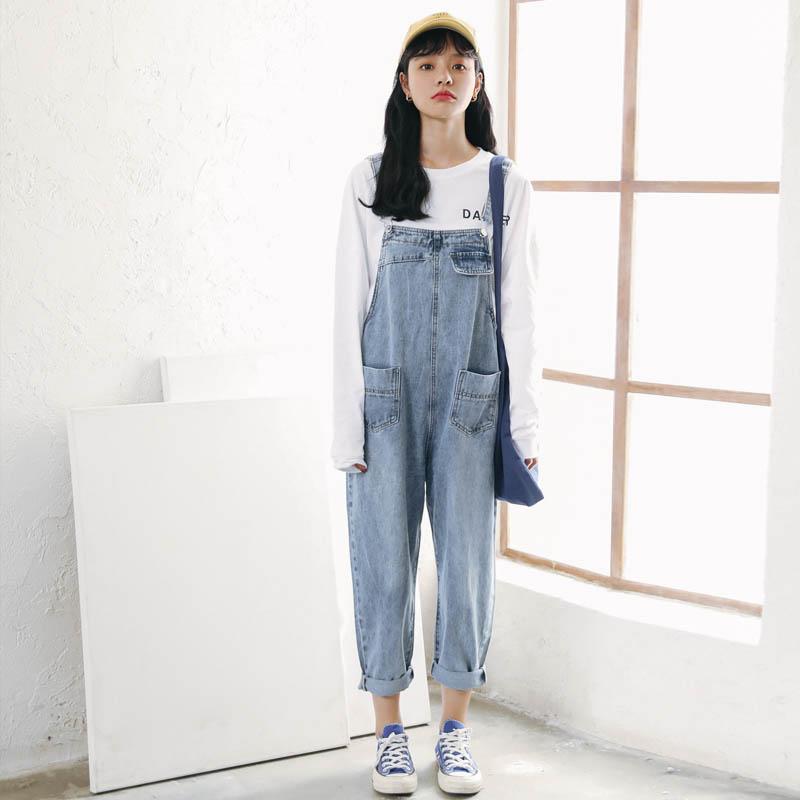 实拍~2019新款韩风浅蓝色牛仔背带裤女连体裤