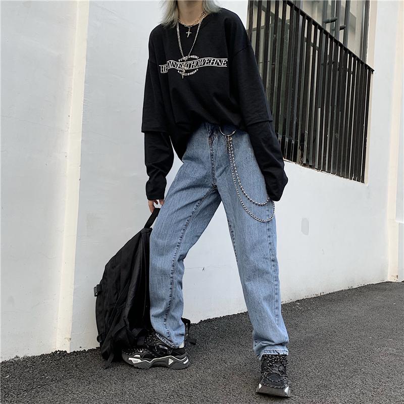 控價47韓國INS修身顯瘦水洗牛仔褲竹節紋男女款直筒小腳休閑長褲