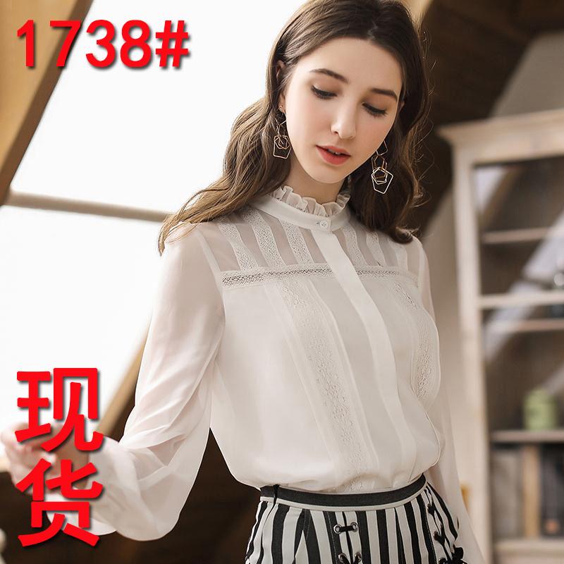 2019新款秋装镂空蕾丝上衣气质轻熟女白色OL衬衫灯笼袖花边雪纺衫