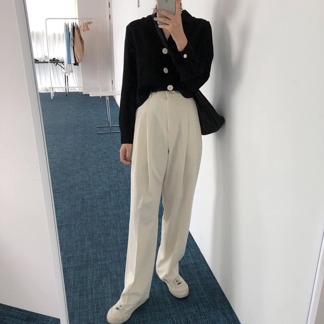 实价 百搭短款小西装衬衫+休闲大长腿西裤套装