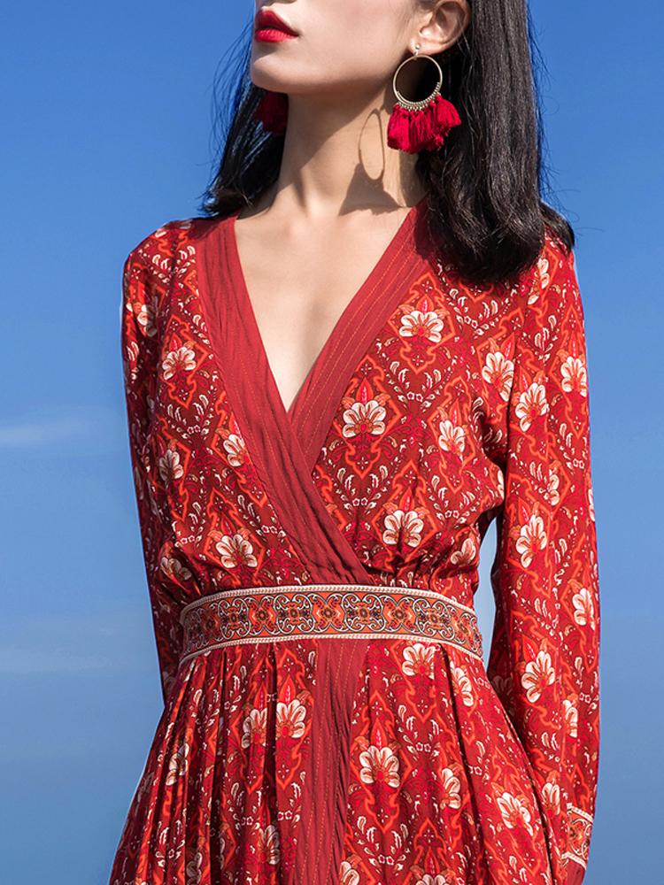 沙漠拍照衣服西藏旅行女裝青海湖大理麗江旅游長裙沙灘連衣裙女夏
