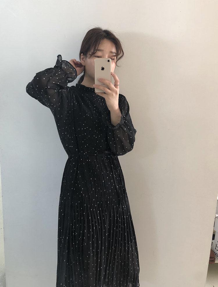 实价 韩国INS秋冬季新款黑色连衣裙女收腰显瘦西装内搭长裙碎花雪