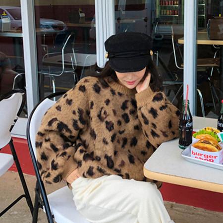 現貨 圓領寬松豹紋洋氣保暖加厚毛衣針織衫