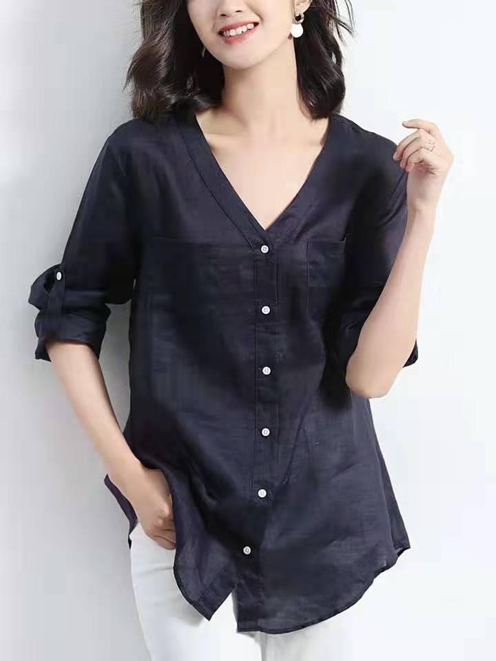 蓝色棉麻衬衫女v领宽松长袖薄款亚博开户2019秋季新款设计感小众上衣