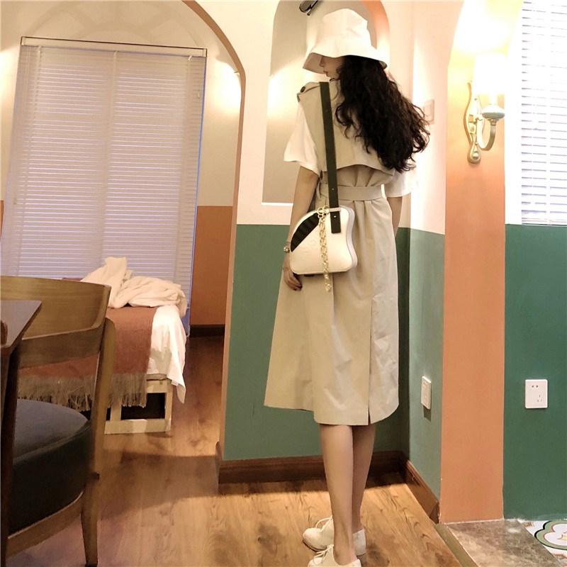 實拍實價 控價5 法式復古修身系腰帶西裝不規則風衣連衣裙