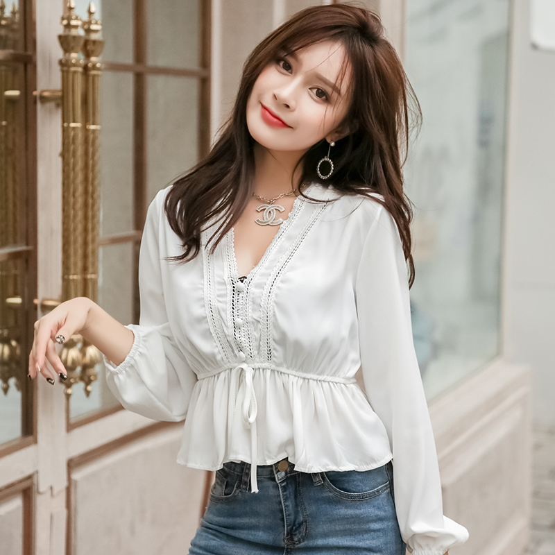 小仙女白色燈籠袖復古宮廷襯衣v領雪紡衫上衣女2019新款