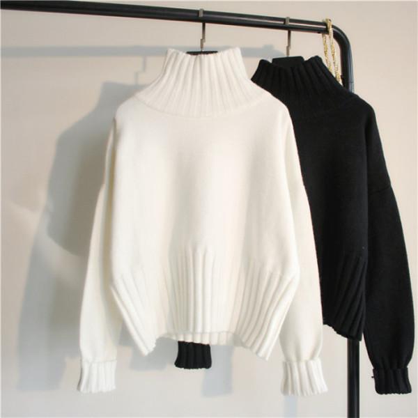 套頭寬松慵懶風網紅毛衣高領小清新甜美長袖打底衫白色短款女秋冬