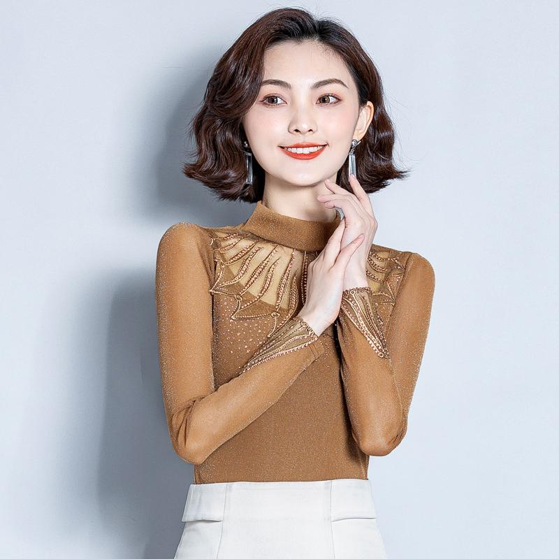 高领网纱蕾丝打底衫女长袖2019新款秋装百搭修身性感镶钻T恤上衣