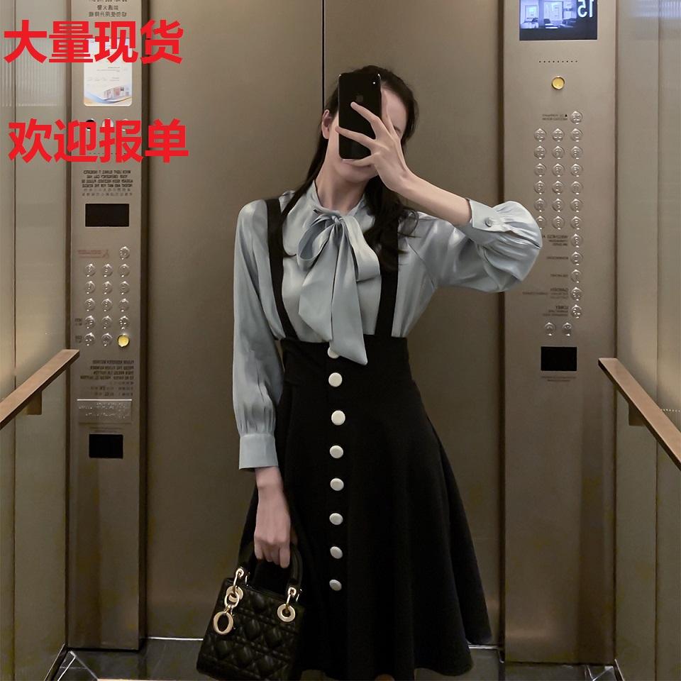 詹維尼 泡泡袖襯衫+高腰背帶裙女春夏俏皮兩件套法國小眾時尚套裝