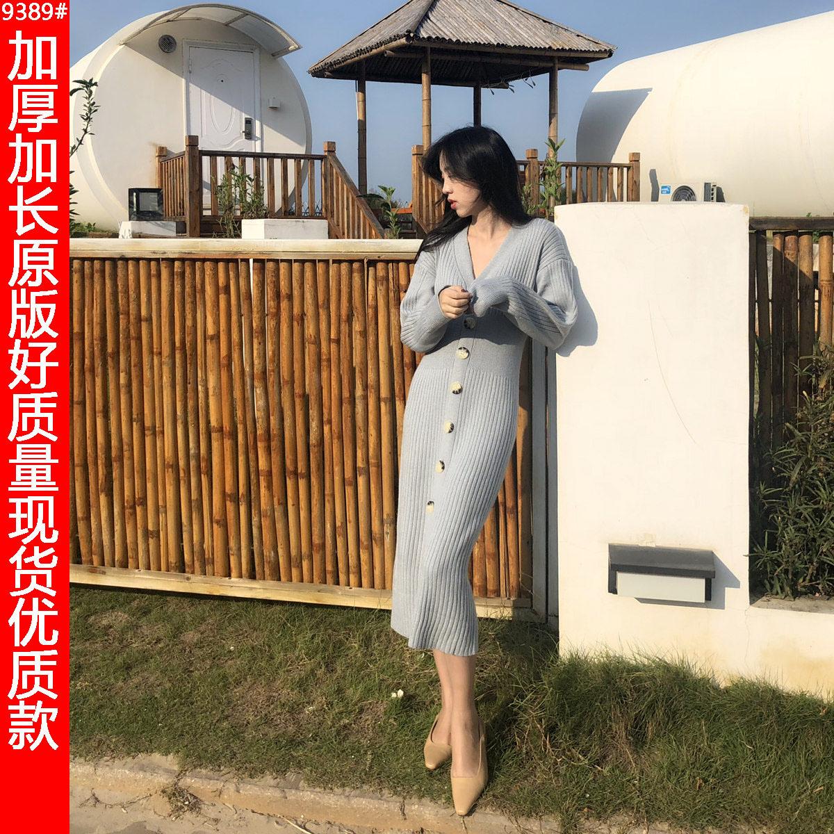 秋冬新款韓版復古單排扣加厚針織連衣裙中長款寬松顯瘦毛衣裙